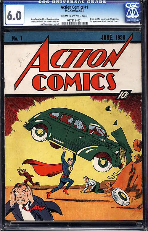 Mítico ejemplar del Action Comics No. 1, que se está subastando en estos momentos.